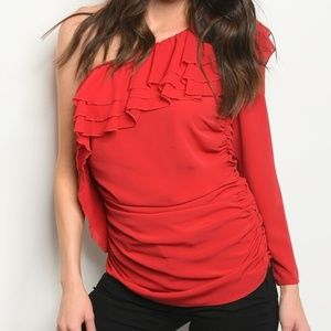 Long Sleeve Ruffled Detail Blouse